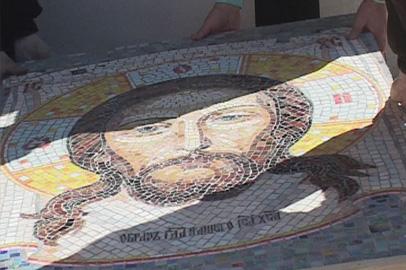 На фасад храма в Шимановске установили мозаичную икону
