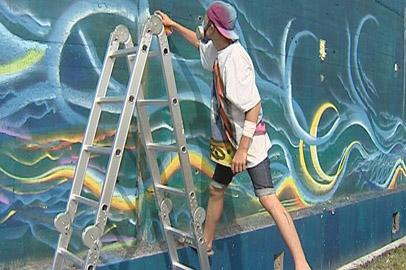 Одну из стен на Бурейской ГЭС украсили уличные художники