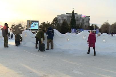 Снежный городок в Благовещенске закрыли на реставрацию