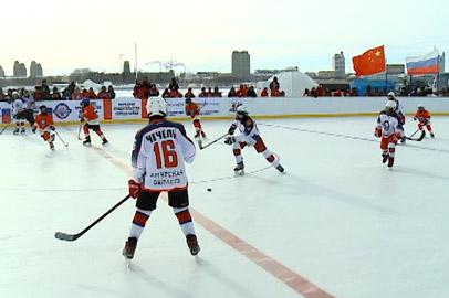 На льду Амура состоялась хоккейная встреча между  Россией и Китаем