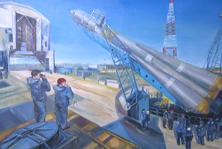 Выставка картин ко Дню космонавтики открылась в аэропорту Благовещенска