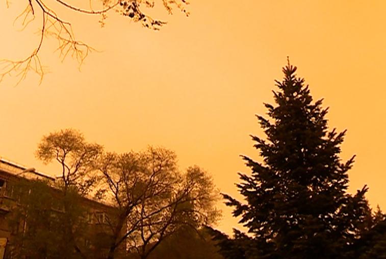 Облако пыли из северокитайской пустыни на время накрыло Приамурье