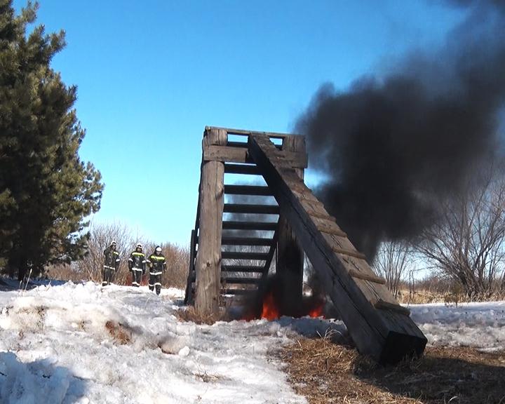 Амурские пожарные и сотрудники лесхозов проходят занятия на огневой полосе