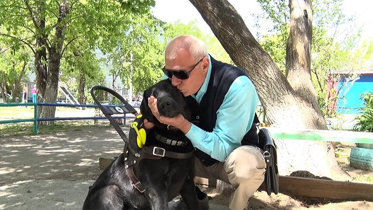 Амурский инвалид по зрению получил собаку-поводыря. В Благовещенске таких псов всего два