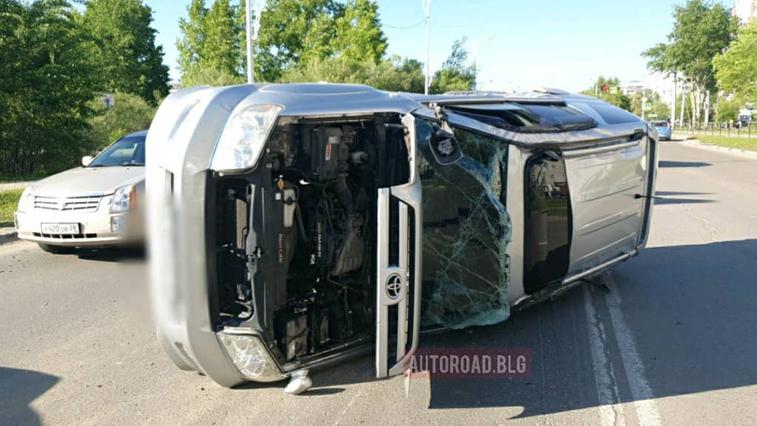ДТП с переворотом произошло сегодня в микрорайоне Благовещенска