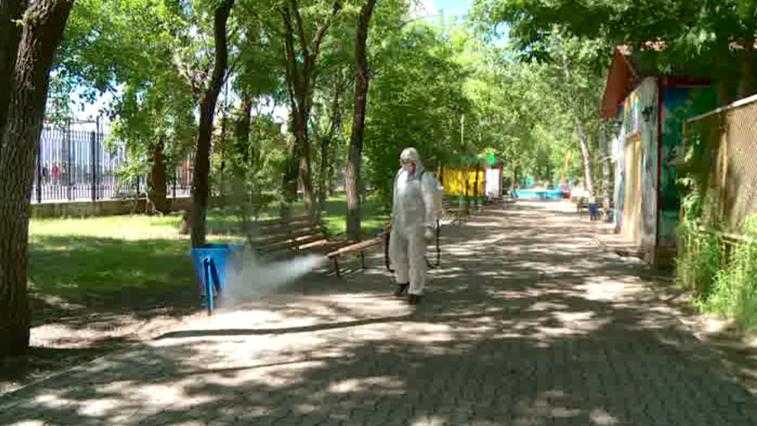 В Благовещенске провели дезинфекцию городского парка