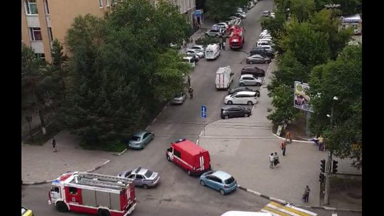 Пожар в центре Благовещенска. В пер. Волошина загорелось кафе