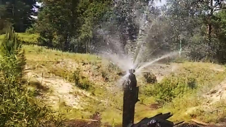 Необычный фонтан в селе Разливное работает круглый год