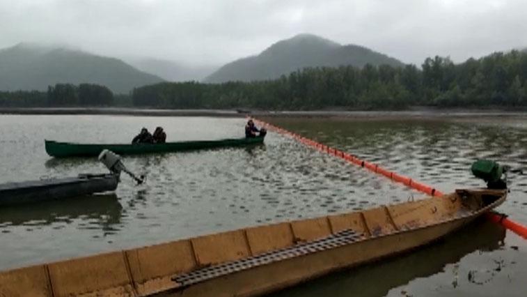 Распространение нефтепродуктов по реке Селемджа сдерживают боновые заграждения