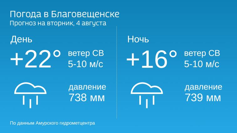 В Приамурье во вторник будет еще прохладнее, дожди не прекратятся